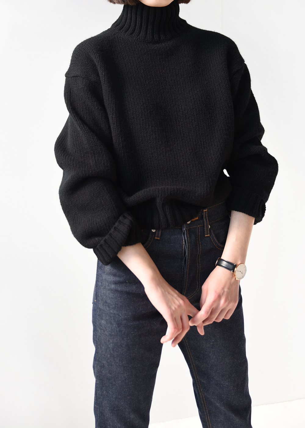 [Romanticize] Shetland Wool Turtleneck Knit (Black)