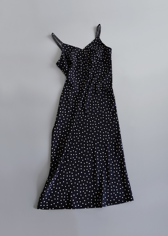 [ADD ROBE] MIDI SLIP DRESS (NAVY DOTS)