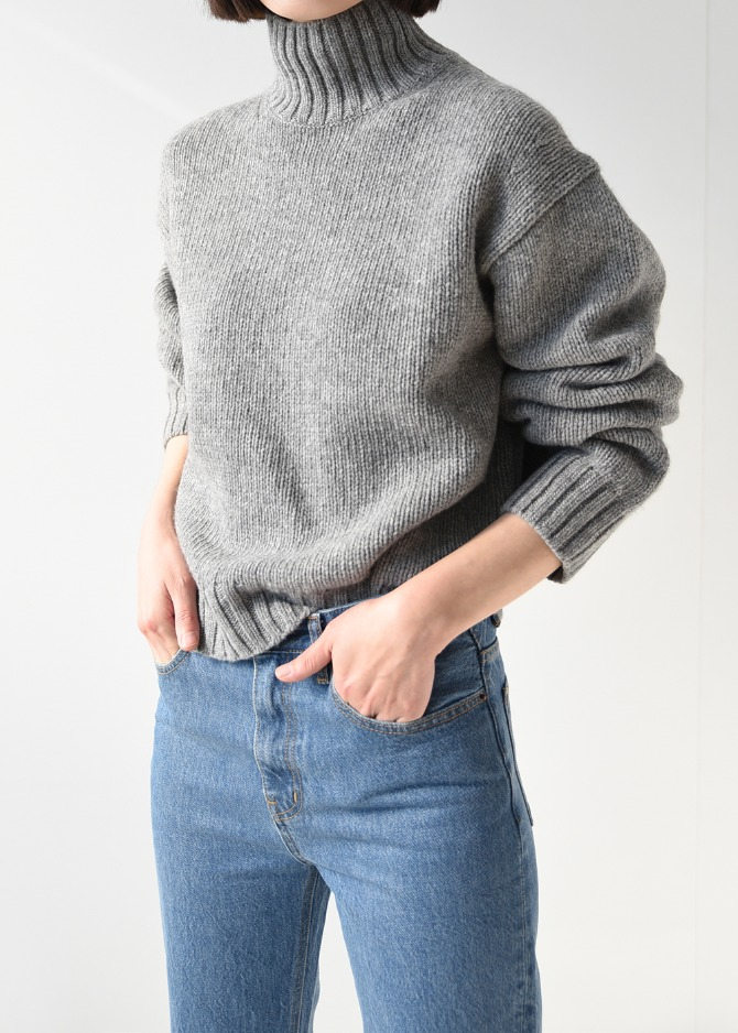 [Romanticize] Shetland Wool Turtleneck Knit (Grey)